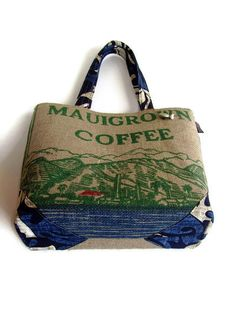Burlap Tote Handbag, Custom and Eco Friendly Purse. Repurposed Mauigrown Coffee Bag. Handmade in Hawaii. Made to Order.