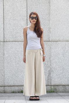 (the detailing!) Graceful Casual Beige Wide leg Long Linen Pants - NC004