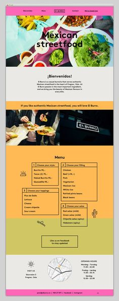 El Burro Restaurant - Web Design - Website, UI, Interaction Design, Menu, Streetfood, Minimal, Graphic, Bright Colors, Bright Photos, Images,. If you like UX, design, or design thinking, check out theuxblog.com