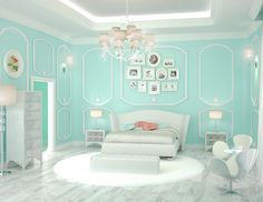 20 Bedroom Paint Ideas For Teenage Girls | Tiffany blue is a refreshing hue that is cool and comforting. It brings class and elegance in your teenu2019s bedroom design with a feminine touch.