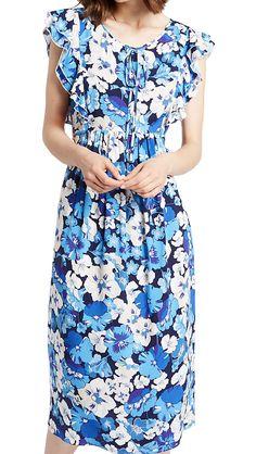 MARKS & SPENCER LIMITED EDITION Floral Print Frill Sleeve Swing Midi Dress T42/5506L.  UK16 EUR44  MRRP: £39.50 - AVI Price: £15.00GBP