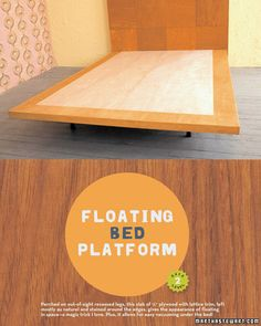 Wooden Tile Headboard and Floating Bed Platform