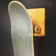 Bamboo skateboard wall rack. Free Shipping! #skateboarding