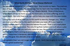 What Really Matters - What Always Mattered