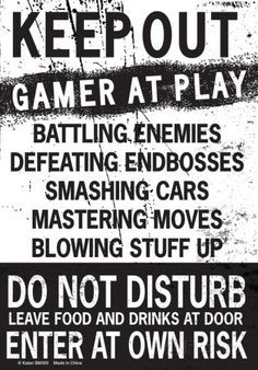 Keep Out Gamer At Play… Tin Sign at AllPosters.com - Teen Boy's Room
