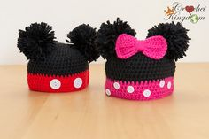 Mickey Mouse or Mini Mouse Beanie (Disney Crochet) ($15 AU) by CrochetKingdomAU