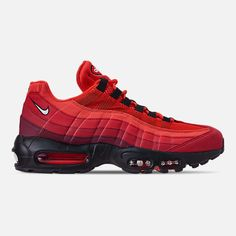 Right view of Men's Nike Air Max 95 OG Casual Shoes in Habanero Red/White/University Red Nike Red Sneakers, Red Nike Shoes, Nike Shoes Outlet, Air Max Sneakers, Sneakers Fashion, Sports Shoes, Nike Air Max 90s, Nike Air Max Running, Mens Nike Air