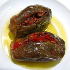 Syrian Pickled Aubergine - Makdous My absolute favourite pickle ever! My friend's mother used to make it and it was always a treat, served with warm bread. Ooooh yummy.