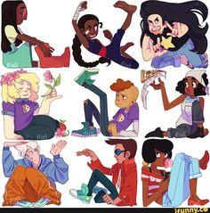 Season 1 Connie, Season 2 Connie, Greg, Sadie, Lars, Kiki, Sour Cream, Buck Dewey, Jenny