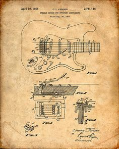 Patent Print of a Fender Guitar Pickups Patent Art by VisualDesign