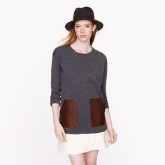 J.Crew - Merino leather-pocket sweater  Leather accents are everywhere this fall, feels like overkill