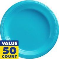 "Caribbean Blue Paper Lunch Plates 50ct 9in Paper Plates Price: $8.99 Brighten up your table setting with our Caribbean Paper Lunch Plates! Our solid color plates are paper. Package includes 50 plates, each measuring 9"" in diameter."