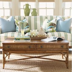 Tommy Bahama Home Beach House Ponte Vedra Distressed Rectangular Coffee Table
