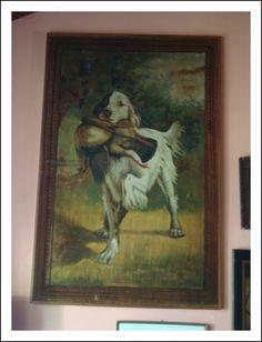 Antico Grande arazzo da parete dipinto, scena cane da caccia