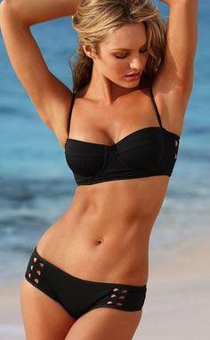 Love this Suit! Love the Cut Out Designs! Sexy Black Halter Hollow Bikini Set #Sexy #Black #Bikini #Beach #Fashion