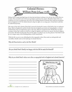 Worksheets: William Penn (to go with A Child's Story of America, chapter 4)