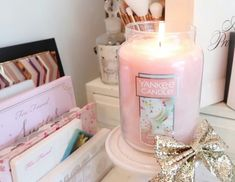 Scented Candles, Candle Jars, Pink Water Bottle, Pink Sweets, Cute Candles, Rose Gold Decor, I Believe In Pink, Vintage Room, Stay Classy