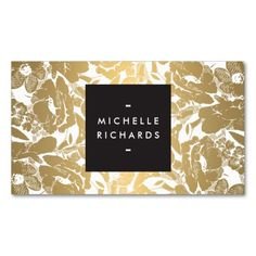 Modern Gold Flowers Business Card Business Card Templates. I love this design! It is available for customization or ready to buy as is. All you need is to add your business info to this template then place the order. It will ship within 24 hours. Just click the image to make your own!