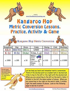 Kangaroo Hop Metric Conversion Lesson and Games: This publication offers a multisensory, fun and memorable method for teaching and practicing metric conversion. The decimal becomes a ball and students learn to hop to the left or the right with the decimal. The download also includes cartoon-like guided lessons, strips that can be placed on each student's desk, as well as instructions and materials for an activity and even a game. #metricconversion Teaching Activities, Help Teaching, Student Learning, Fun Learning, Metric Conversion, Social Emotional Development, Math Measurement, Reading Specialist, Math Strategies