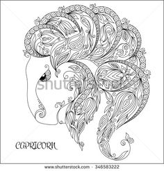 Pattern for coloring book. Hand drawn line flowers art of zodiac Capricornus. Horoscope symbol for your use. For tattoo art, coloring books set. Henna Mehndi Tattoo Ethnic Zentangle Doodles style.