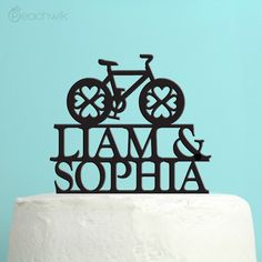 Wedding Cake Topper  Personalized Bicycle Cake Topper  by peachwik