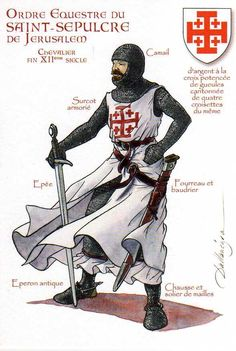 Thank you Veronique! The Equestrian Order of the Holy Sepulchre of Jerusalem is a Roman Catholic order of knighthood under the protection of the pope. Armadura Medieval, Crusader Knight, Knight Armor, Knights Hospitaller, Knights Templar, Medieval Knight, Medieval Armor, Knight Orders, Empire Romain