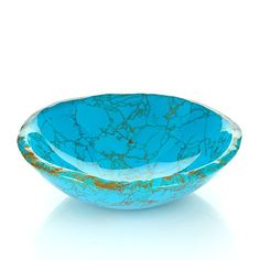 """Jay King Sculpted """"Cochise"""" Composite Bowl Bring a pretty pop of turquoise color to your home décor with this beautiful bowl from Jay King. A proprietary gemstone and mineral composite, which includes turquoise, is shaped and polished to create a lovely decorative bowl with the look of natural stone. It makes a perfect coffee table centerpiece or home accent."""