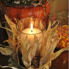 Easy and inexpensive Pottery Barn inspired Indian corn candle