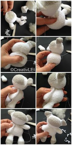 How to Make a Sock-doll Sheep - Looking at life CreativLEI BabyYou can find Sheep and more on our website.How to Make a Sock-doll Sheep - Looking at life CreativLEI Baby Sock Crafts, Fabric Crafts, Diy And Crafts, Crafts For Kids, Decor Crafts, Diy Sock Toys, Sheep Crafts, Yarn Crafts, Sewing Toys