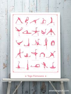 Yoga poster with pink flamingo. By Amellie Legault