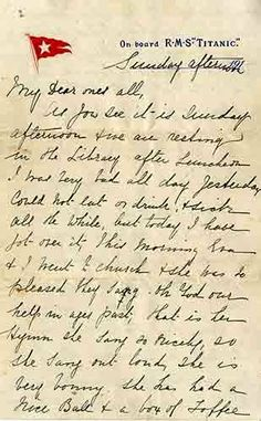 [ABC7]: A letter written by a passenger on the Titanic describing the hours before the ship hit an iceberg sold at an auction Saturday for $200,000. The letter was written by second-class passenger Esther Hart on April 14, 1912. Hours later the passenger liner described as practically unsinkable hit an iceberg and sank, killing more than 1,500 people including Hart's