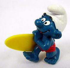 Vtg Smurfs Peyo SURFER Smurf 20137 Schleich Hong Kong PVC Figure Toy Long Board #Schleich