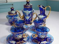 Italian Glass Tea Cups - Bing ImagesITALIAN COBALT BLUE MURANO GLASS TEA SET 24K GOLD FINISH HAND BLOWN