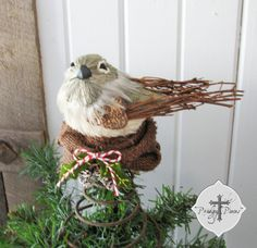 Rustic Bird's Nest Christmas Tree Topper ~ Made with Burlap & Repurposed Morris Rocker Spring