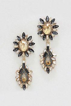 Capri Earrings in Black Diamond Champagne Crystal