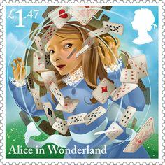 """К 150-летию первого издания """"Приключений Алисы в стране чудес"""" Льюиса Кэрролла британская королевская почта выпустила почтовые марки с изображением сцен из книги."""