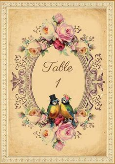 Tallulah - Vintage Victorian Love Birds And Roses - Printable Diy Wedding Table…