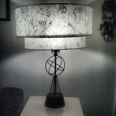 Black and White Splatter Fiberglass 2 Tier Lamp Shade with Black Metal Atomic Symbol Base, I have the matching pair