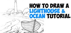 Today I will show you how to draw a lighthouse on a northern rocky beach (such as in Maine or Canada) with a turned over boat. This lighthouse is by the sea / ocean and there is water washing up onto the beach. I will show you how to draw this seascape with easy step by step drawing steps and instructions.