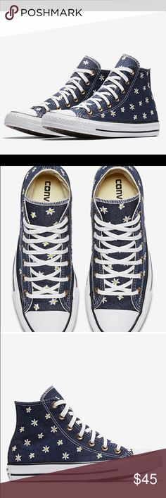 NWT Dark denim daisy converse NWT dark denim daisy converse high tops perfect for spring 🌷 Converse Shoes Sneakers