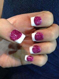 Hmmm, French mani with the glitter as the nail color & traditional solid white as the tip. The hot pink really makes this pop.....I like it!