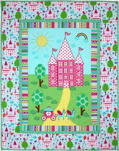 = free pattern = Enchanted castle quilt by Marinda Stewart Quilt Baby, Michael Miller, Panda Quilt, All People Quilt, Castle Crafts, Disney Quilt, Cute Quilts, Children's Quilts, Enchanted Castle