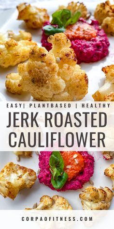 This roasted cauliflower recipe with jerk seasoning is easy, delicious and will satisfy! Enjoy it as a side or a main as you like. Dairy Free Recipes, Easy Healthy Recipes, Healthy Meals, Vegetarian Recipes, Cauliflower Dishes, Vegan Cauliflower, Vegetable Sides, Side Dish Recipes, Brunch Recipes