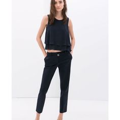 Zara Woman Navy Trousers Size:Small LIKE NEW Zara Woman Navy Trousers Size:Small //condition: LIKE NEW // Color: deep navy // belt holes (belt not included) side pockets back pockets // perfect fit // true to size // I ship same day from pet/smoke-free home Zara Pants