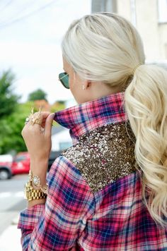 This is so cute. Dress a flannel up with sparkle!