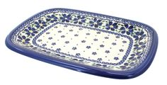 Spring Blossom Medium Rectangular Serving Dish - Blue Rose Polish Pottery