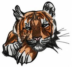 Wild tiger 5 machine embroidery design. Machine embroidery design. www.embroideres.com