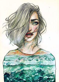 The SEA by Poplavskaya on DeviantArt Art Journal Inspiration, Painting Inspiration, Art Inspo, Pretty Art, Word Art, Art Tutorials, Female Art, Les Oeuvres, Painting & Drawing