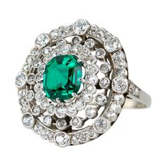 Edwardian Emerald And Diamond Ring   From a unique collection of vintage cocktail rings at http://www.1stdibs.com/jewelry/rings/cocktail-rings/