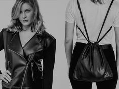 Leather Jacket converts to drawstring bag